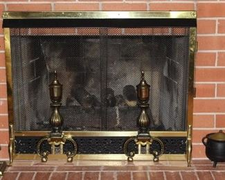 "Brass  Fireplace Screen with andirons and 5 piece Tool Set.  Also shown: Antique Cast Iron Smelting/Smudge ""fire starter"" Pot with brass lid & wand and a Blacklock #8 Sad Iron with Wrought Iron trivet."