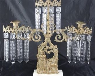 Antique Gilt Bronze  3 -Light Candelabra 1800's Girandole Candle Holders, Victorian w/ Crystal Prisms,