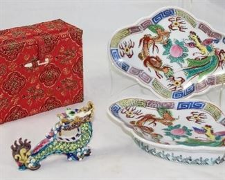 Oriental Brocade Box, Hand Painted Porcelain Dragon and Pedestal Oval Trays (2 ea)