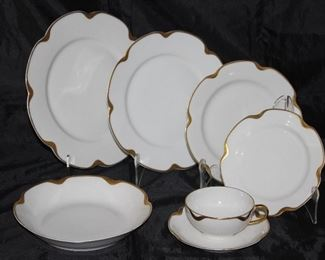 "Haviland & Company Limoges France ""Silver Anniversary"" Circa 1902; 8 dinner plates, 8 luncheon plates, 8 salad plates, 4 B&B plates, 4 Coupe soup bowls and 9 cups and saucers"