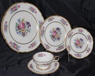 "Castleton USA ""Castleton Rose"" 1950-1972; 8 dinner plates, 7 salad plates, 6 B&B plates 7 cups and saucers"