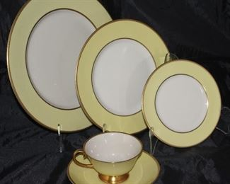 "Sylvan ""Yellow"" by Flintridge (1964-71) 5 piece place setting service for 12  including dinner plates, salad plates, B&B plates, cups and saucers"