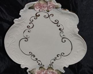 "Applied pink roses Dresser Tray 10"" x 8"""