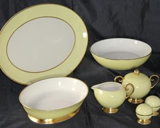 "Sylvan ""Yellow"" by Flintridge (1964-71); 14"" oval platter, oval vegetable bowl, round vegetable bowl, sugar, creamer and 4 sets of ball salt and pepper shakers"