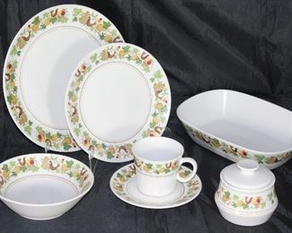 """Homecoming"" by Noritake (1966-1979) 7 dinner plates, 5 salad plates, 4 coupe cereal bowls, 6 cups & saucers, oval vegetable bowl, sugar and creamer (creamer not shown)"