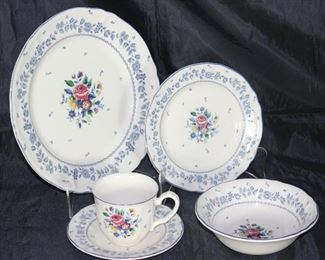"""Flower Garden"" by Nikko Homestead Collection for table mates.  9 dinner plates, 9 B&B plates, 10 coupe cereal bowls and 9 cups and saucers"