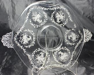 "Elegant glass of the Depression era 1938-1954 Fostoria ""Mayflower"" two handled 10"" tidbit tray"