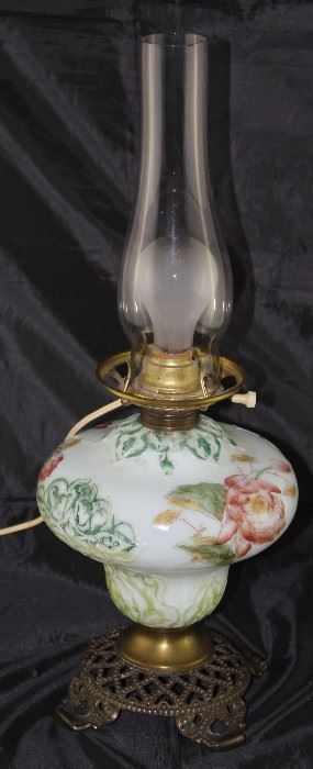 "Victorian Hand Painted milk glass font oil lamp with electrical added 20"" H"