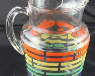Depression Era Orange, Yellow, Green broken stripe ice lip Pitcher