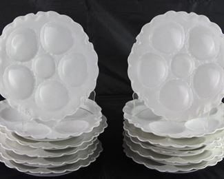 "Haviland Limoges France 1893-1931 ""Ranson"" 5 well oyster plates 12 each"