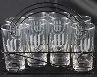 "Vintage Initial ""W"" Tumblers (8) in Black Metal Wire Caddy"
