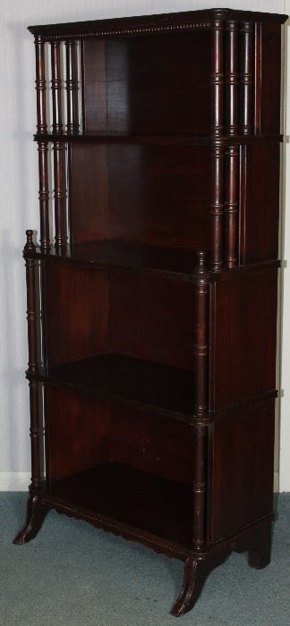 "Vintage mahogany turned column whatnot/bookcase 22 1/2"" W x 11"" D x 49"" H"