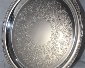 "International Silver Company ""Castleton"" Silverplate 14"" Round Tray"
