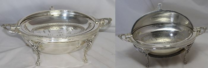 "Victorian RARE English silverplate breakfast server/warmer with revolving dome Lid 14"" w/handles L x 8 1/2"" W x 8"" H"