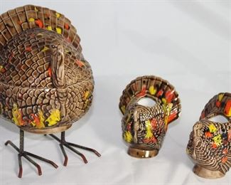 Vintage Ceramic Turkey Covered Dish on Standing Metal Legs and a pair of Turkey Candle Holders
