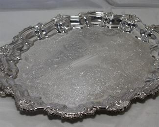 "Ornate Silverplate serving tray 16"" x 19"""