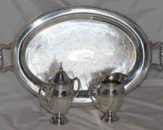 "Glastonbury Silver Company oval silver plate serving tray 17"" x 12"" with handles"