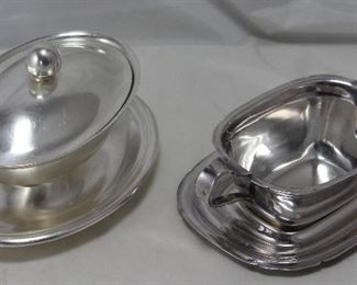 Vintage Silver Plate:  Reed and Barton USN (Navy)  Covered Gravy Boat with attached Under-plate and an open Gravy Boat with Under-plate