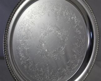 "Wilcox Brandon Hall Silverplate 14"" Round tray"