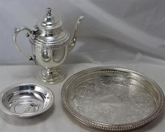 "William Rogers Silverplate 12"" Gallery Tray, Pedestal Coffee Server, 6 1/2"" Bowl"