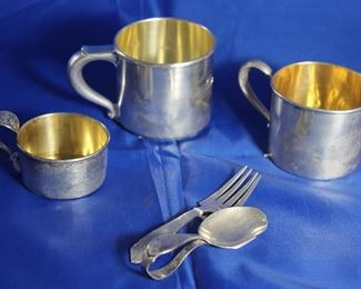 Sterling Silver:  2 Wallace Baby Cups, Drummer Boy Handle Baby Cup, Wallace Infant Spoon and Fork
