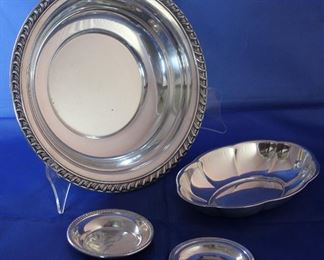 "Wallace Sterling Silver:  ""Halifax"" 10"" serving bowl, Oval 7 1/2"" x 5"" dish, Coaster and Newport Sterling Butter Pat"