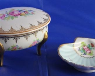 Limoges France Footed Standing Covered Trinket Box and Shell Dish