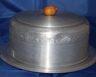 Vintage Aluminum  Cake Saver with Wooden Acorn Finial
