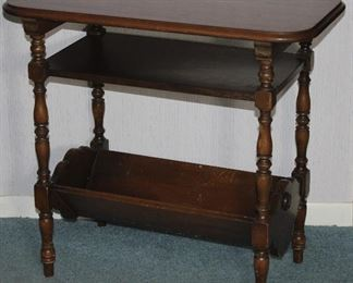 Depression Era Occasional Table with Shelf and book trough