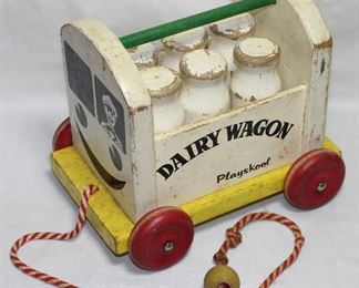 "Playskool Wooden Vintage ""Dairy Wagon"" Pull Toy"