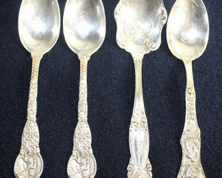 "Sterling Silver: Wendell Mfg. Co. ""Ariel"" Dessert Spoons (2 ea.) c.1895 and ""Emperor"" Sugar Spoon 1875 and Watson Silversmith Hot Springs, Arkansas Sterling Silver Spoon 1890's"