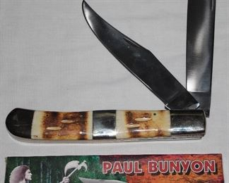 Vintage 70s Ole Smoky Paul Bunyan Pocket Knife USA Stag Handle
