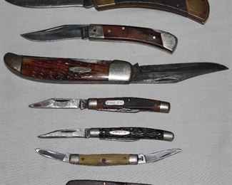 Collection of knives:  Case, Buck, Schrade, Barlow, etc.