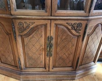 Pecan China hutch with beautiful detail