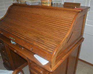 Oak Roll Top Desk with matching Oak framed chair
