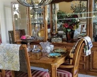 Thomasville Table, 2 leaves, 6 Chairs, China Cabinet & Server