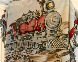 Fleece throw with painted train