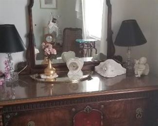 Antique dresser with mirror$450..matching bed and chest of drawers