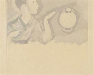 Foujita Print of Japanese Woman with Lantern