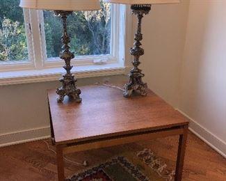 Pair wood lamps  as is 295