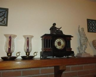 mantle clock, candle holders & statue
