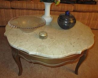 marble topped coffee table