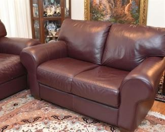 Divani Chateau d'Ax Brown Leather Loveseat
