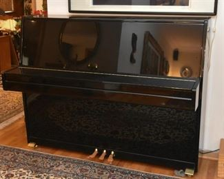 Beautiful Black Lacquer Suzuki Upright Piano with Brass Details (it comes with a piano bench, not shown)