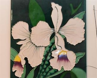 Ceramic / Glazed Tile Wall Hanging (Irises)
