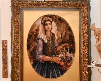 Framed Persian Tabriz Carpet Artwork / Wall Hanging