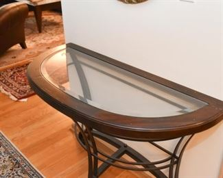 Contemporary Demilune Console Table (metal base, wood & glass top)