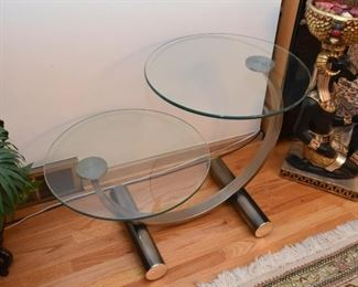 Modern Double Round End Table with Glass Top (there is also a matching coffee /cocktail table)