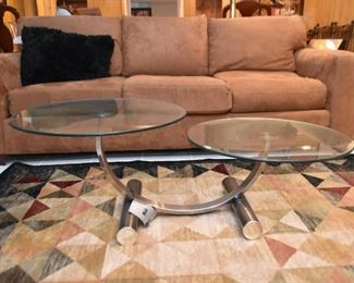 Modern Double Round Coffee / Cocktail Table with Glass Top (there is also a matching end table)