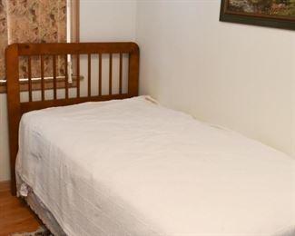Twin Bed with Wood Headboard, Mattress, Box Spring